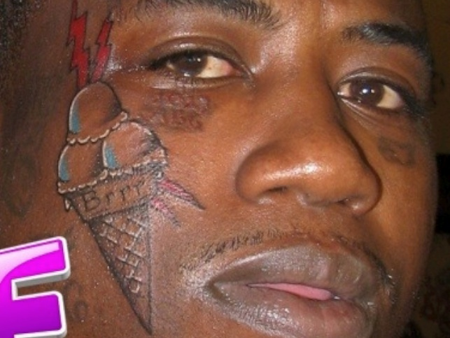 WTF?? Gucci Mane Tattoos A Ice Cream Cone On His Face ...